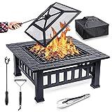 FUNKENFLUG® Feuerschale mit Funkenschutz & Grillrost - für wohlige Wärme & wundervoll gesellige Abende an der Feuerstelle - ideale 2in1...