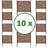 BOGATECO 10 x Beeteinfassung aus Weide   60 cm Lang & 60 cm Hoch   Holz-Zaun Rasenkante   Weiden-Zaun Steckzaun Perfekt für den Garten als...