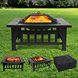 femor Feuerstelle mit Grillrost 81x81x45cm, Multifunktional Fire Pit...